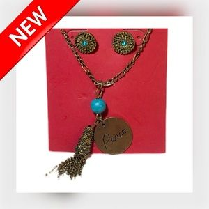 "🆕📿 3 PC ""Peace"" Tassel Necklace & Studs Set"